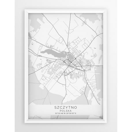Plakat, mapa SZCZYTNO - linia WHITE