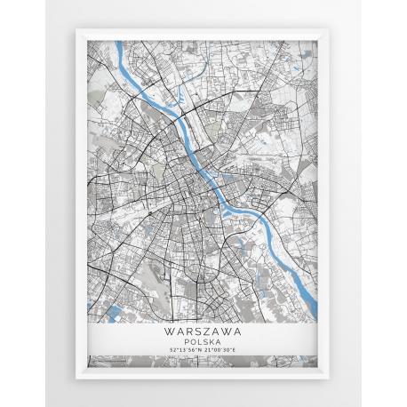 Mapa plakat WARSZAWA - linia BLUE/GRAY