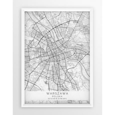 Mapa plakat WARSZAWA - linia WHITE