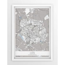 Plakat, mapa LUND - linia BLUE -PASSEPARTOUT