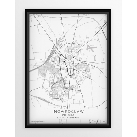 Plakat, mapa INOWROCŁAW - linia WHITE