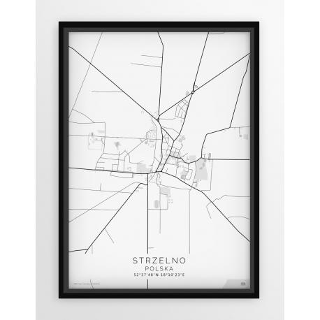Plakat, mapa STRZELNO - linia WHITE