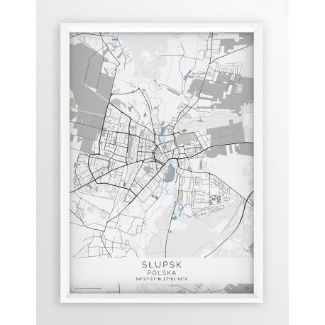 Plakat mapa SŁUPSK - linia BLUE