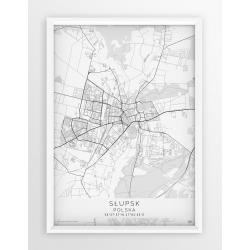 Plakat mapa SŁUPSK - linia  WHITE