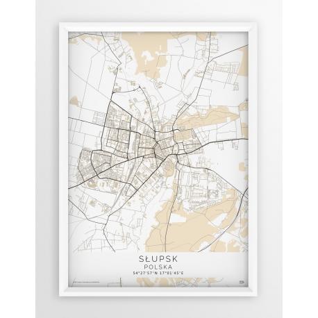 Plakat mapa SŁUPSK - linia  BEIGE