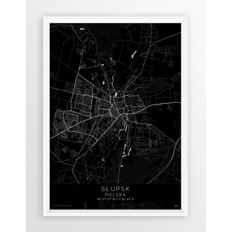 Plakat mapa SŁUPSK - linia  BLACK