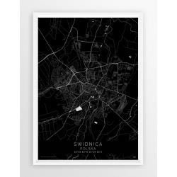 Plakat, mapa ŚWIDNICA - linia BLACK
