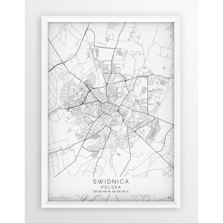 Plakat, mapa ŚWIDNICA - linia WHITE