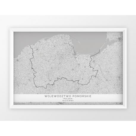 Plakat mapa WOJ. POMORSKIE - linia WHITE POZIOMO