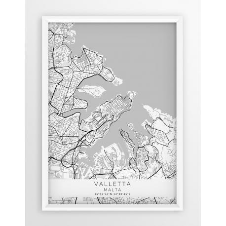 Plakat mapa VALLETTA- linia WHITE