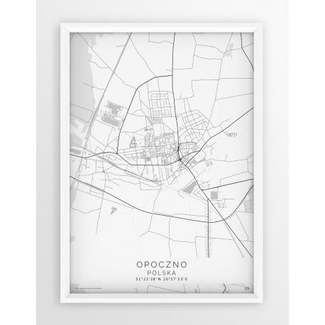 Plakat, mapa OPOCZNO - linia WHITE