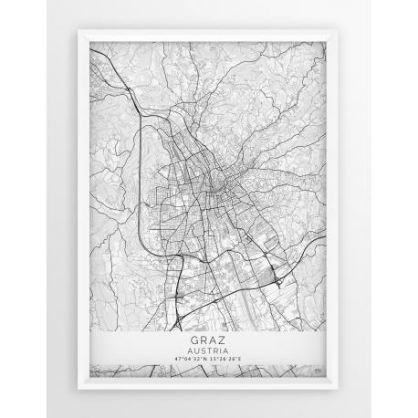 Plakat mapa GRAZ - linia WHITE