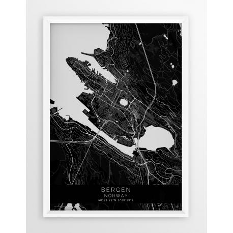 Plakat mapa BERGEN - linia BLACK