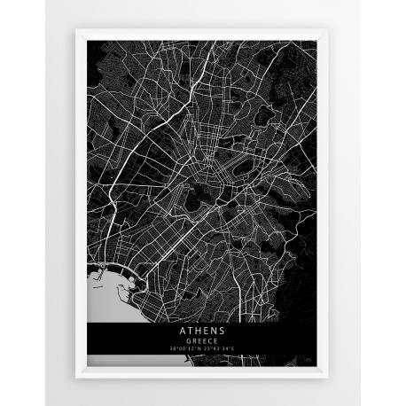 Plakat mapa Ateny - linia BLACK