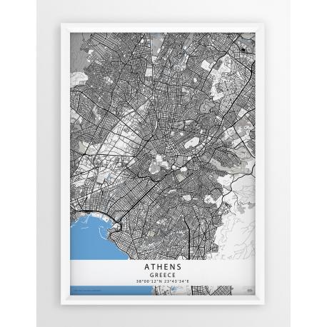 Mapa plakat ATENY - linia BLUE/GRAY