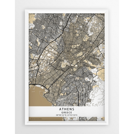 Plakat mapa ATENY - linia BEIGE