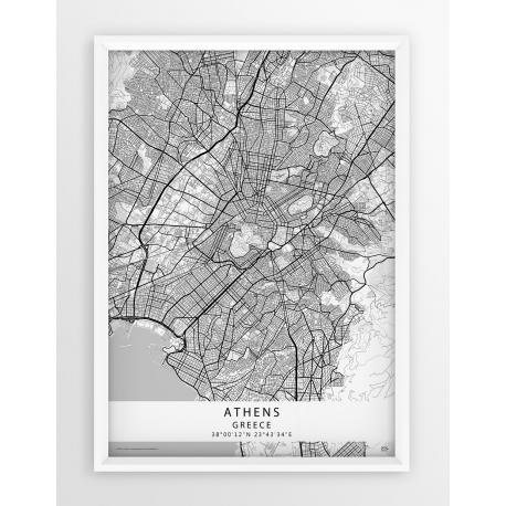 Mapa plakat Ateny - Linia WHITE