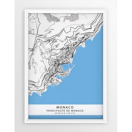 Plakat mapa MONACO - linia BLUE