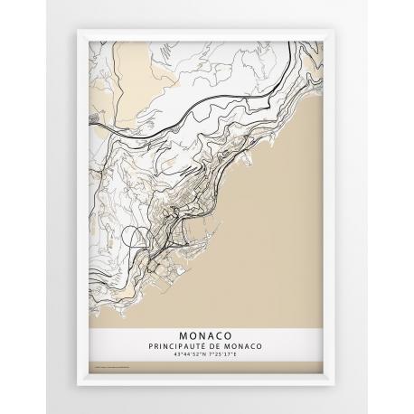 Plakat, mapa MONACO - linia BEIGE