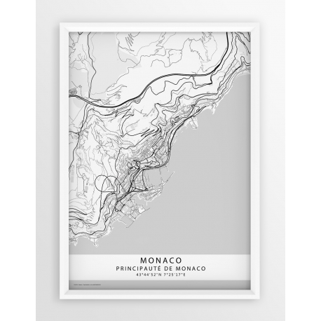 Plakat mapa MONACO - linia WHITE