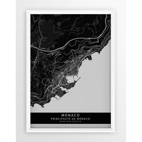 Plakat mapa MONACO- linia BLACK