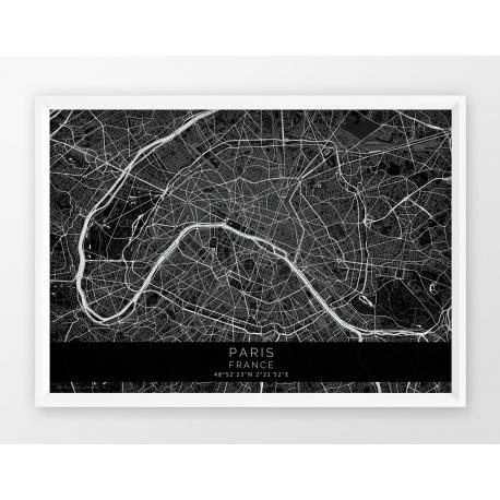 Plakat mapa PARIS/PARYŻ - linia BLACK / POZIOMO