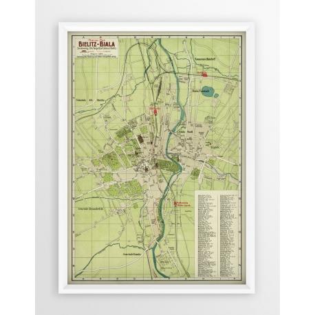 Stara mapa/plan BIELSKO-BIAŁA (1915r) - reprint