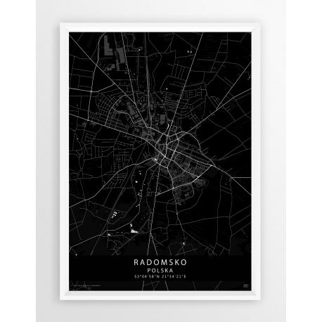 Mapa plakat Radomsko - linia BLACK