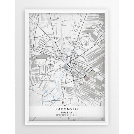 Mapa plakat Radomsko - linia BLUE/GRAY