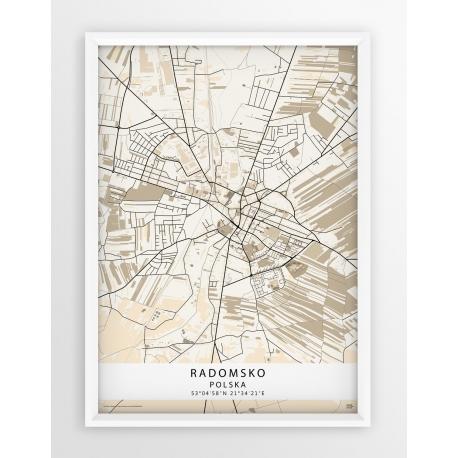 Mapa plakat Radomsko - linia BEIGE