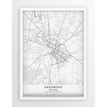 Mapa plakat Radomsko - linia WHITE