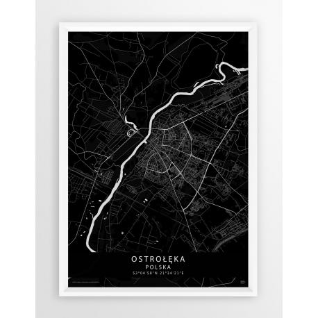 Mapa plakat Ostrołęka - linia BLACK