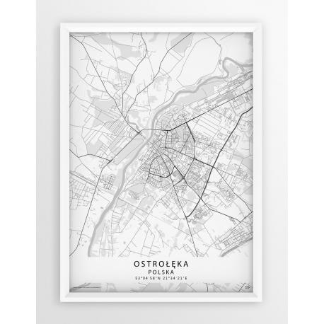 Mapa plakat Ostrołęka - linia WHITE
