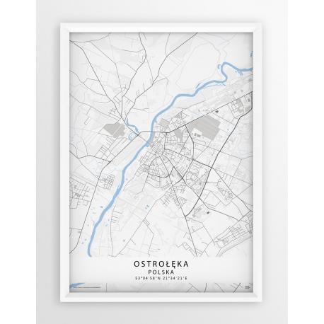 Plakat mapa Ostrołęka - seria BLUE/GRAY