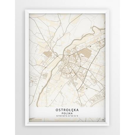 Plakat mapa Ostrołęka - linia BEIGE