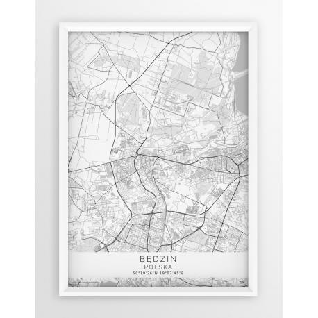 Plakat, mapa BĘDZIN - linia WHITE