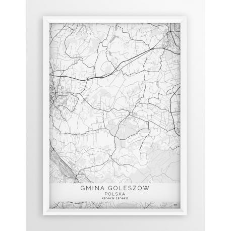 Plakat, mapa GMINA GOLESZÓW - linia WHITE