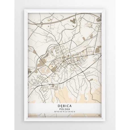 Mapa plakat Dębica - linia BEIGE