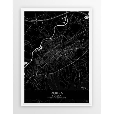 Mapa plakat Dębica - linia BLACK