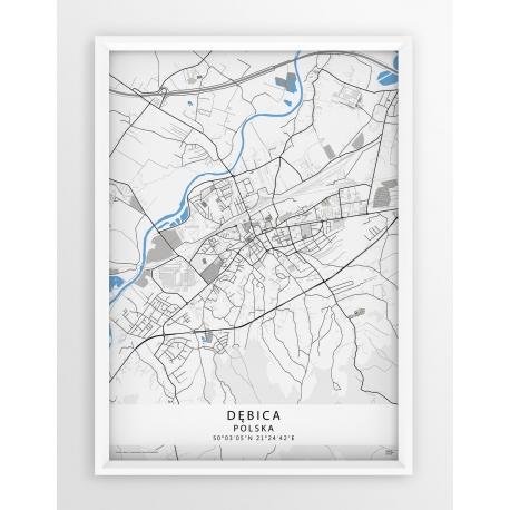 Mapa plakat Dębica - linia BLUE/GRAY
