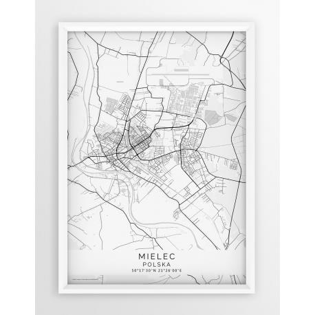 Plakat mapa MIELEC- linia white