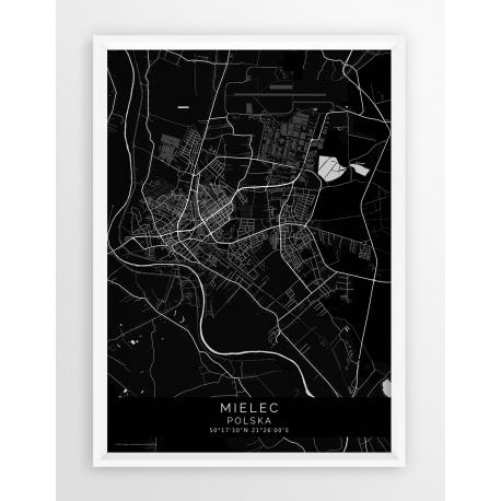 Mapa plakat MIELEC- linia BLACK
