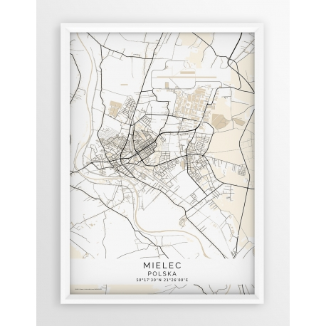 Plakat mapa MIELEC - linia BEIGE