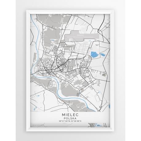Mapa plakat MIELEC - linia BLUE/GRAY