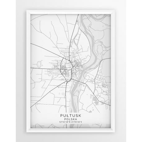 Plakat mapa PUŁTUSK - linia WHITE