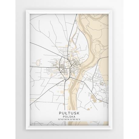 Plakat-mapa-Pułtusk-linia beige