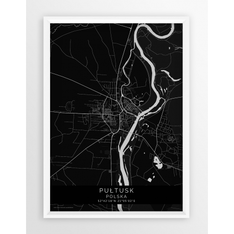 Plakat mapa PUŁTUSK - linia BLACK