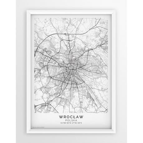 Plakat, mapa WROCŁAW - linia WHITE PASSE-PARTOUT