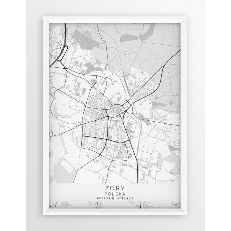 Plakat mapa ŻORY- linia WHITE