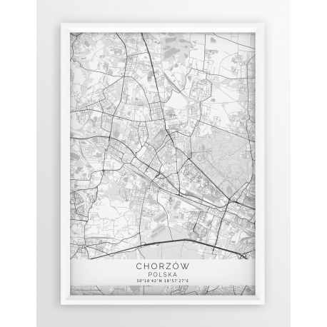 Plakat mapa CHORZÓW - linia WHITE